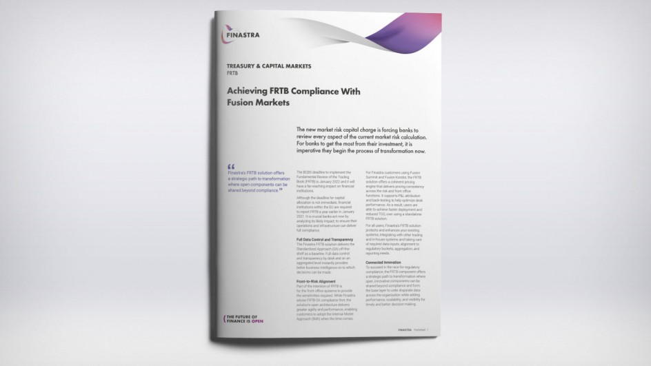Achieving FRTB Compliance With Fusion Markets (Factsheet)