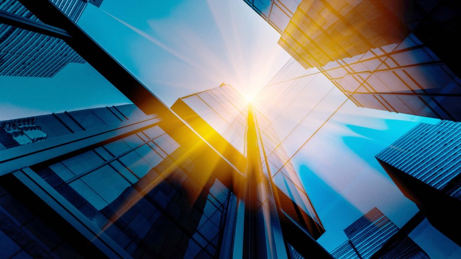 Image of buildings with sun flare effect