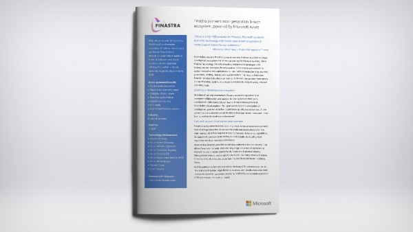 Finastra pioneers next generation fintech ecosystem powered by Microsoft Azure