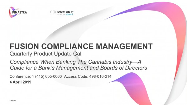 Cannabis Banking Compliance, A Guide for FI Management and Boards of Directors