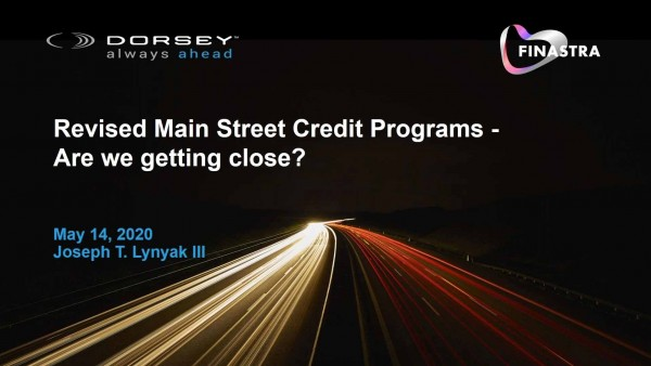 Revised Main Street Credit Programs - Are we getting close?