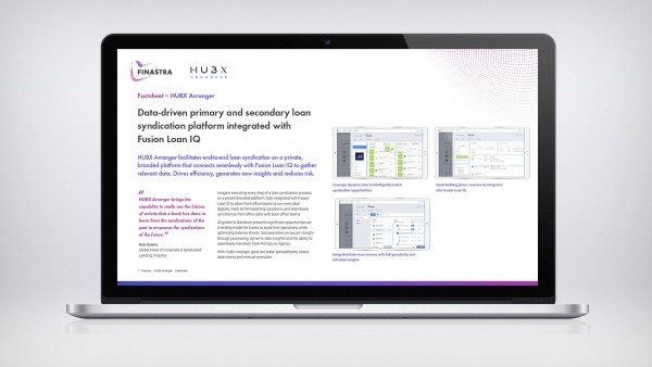 Image of laptop with HUBX Arranger factsheet